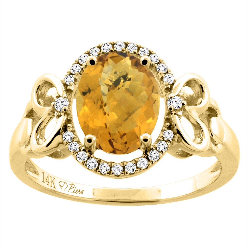 14K Gold Natural Whisky Quartz Halo Ring Oval 9x7 mm Diamond & Heart Accents, sizes 5 - 10
