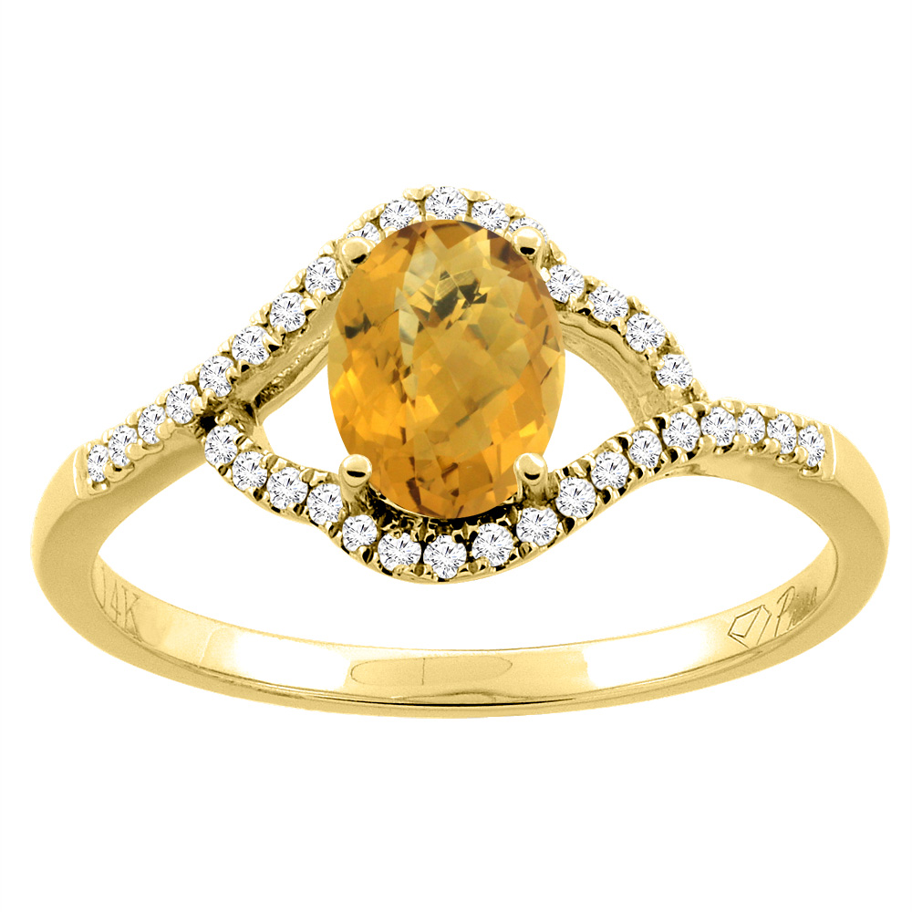 14K Gold Diamond Natural Whisky Quartz Engagement Ring Oval 7x5 mm, sizes 5 - 10