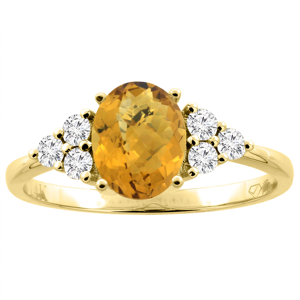 14K Gold Natural Whisky Quartz Ring Oval 8x6 mm Diamond Accents, sizes 5 - 10