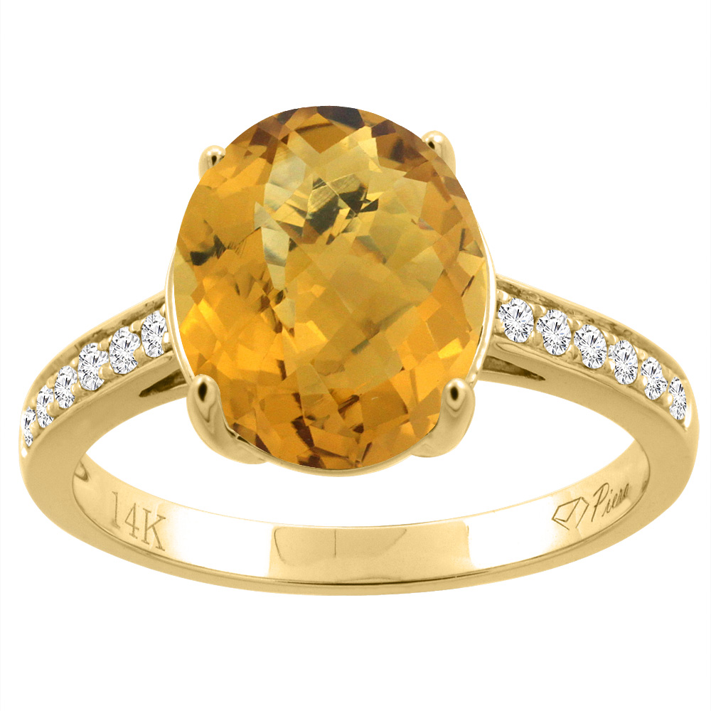 14K Gold Natural Whisky Quartz Ring Oval 11x9 mm Diamond Accents, sizes 5 - 10