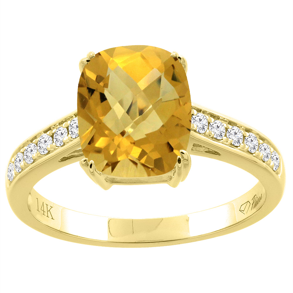 14K Gold Natural Whisky Quartz Ring Cushion Cut 9x7 mm Diamond Accents, sizes 5 - 10