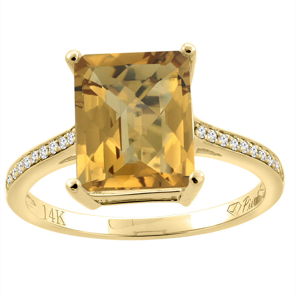14K Gold Natural Whisky Quartz Ring Octagon 10x8 mm Diamond Accents, sizes 5 - 10