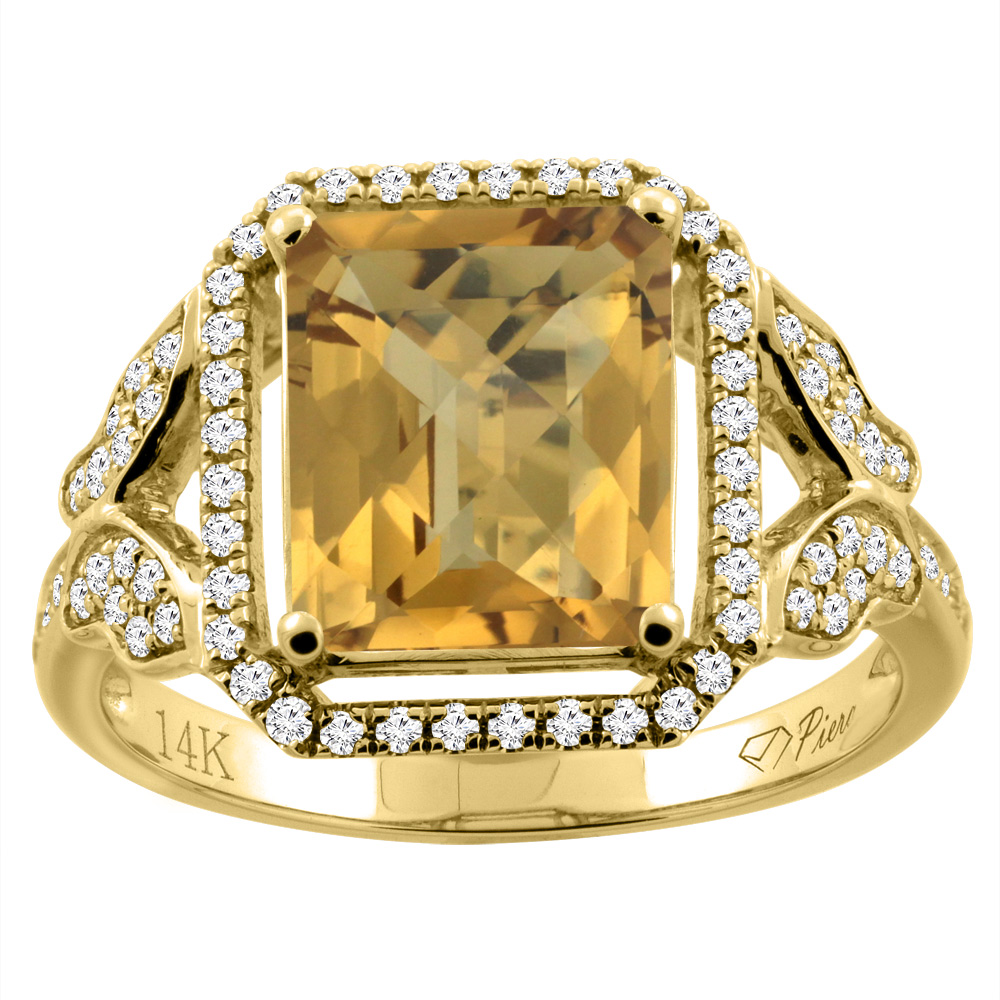 14K Gold Natural Whisky Quartz Ring Octagon Shape 10x8 mm Diamond Accents, sizes 5 - 10