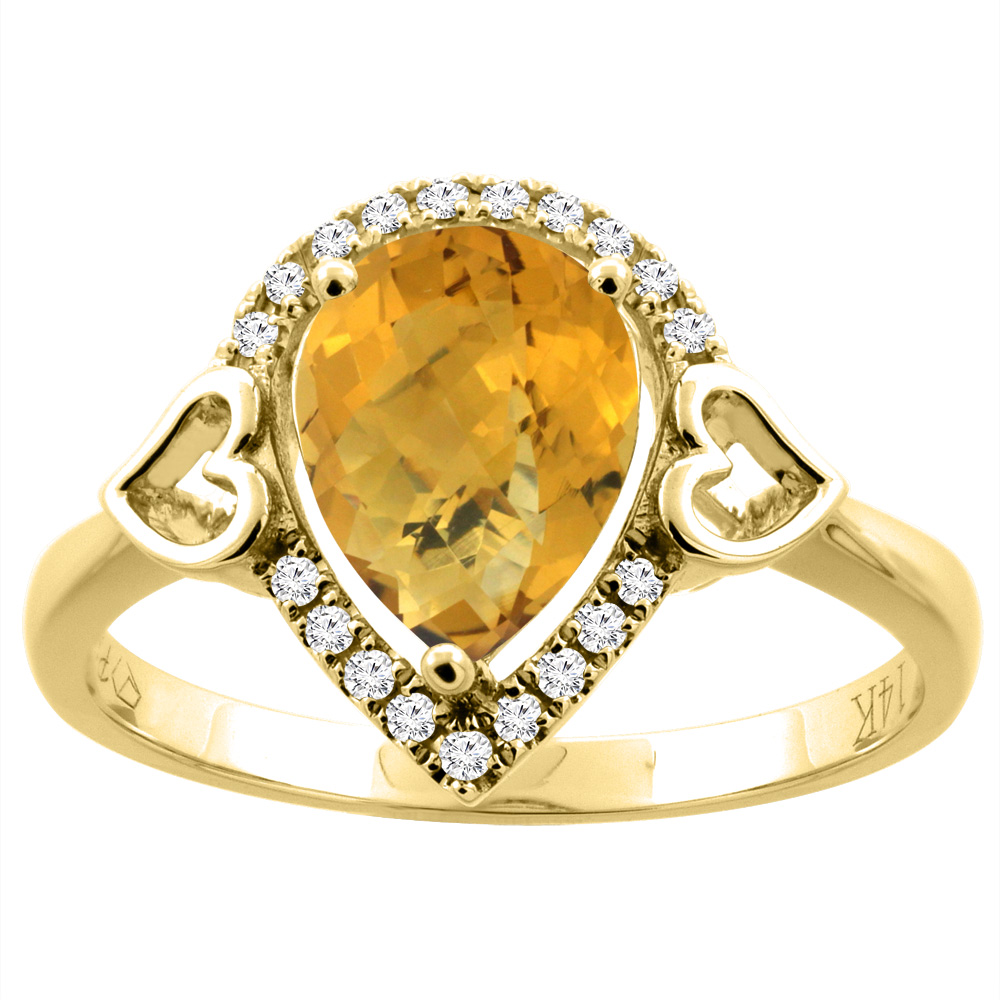14K Gold Natural Whisky Quartz Ring Pear Shape 9x7 mm Diamond Accents, sizes 5 - 10