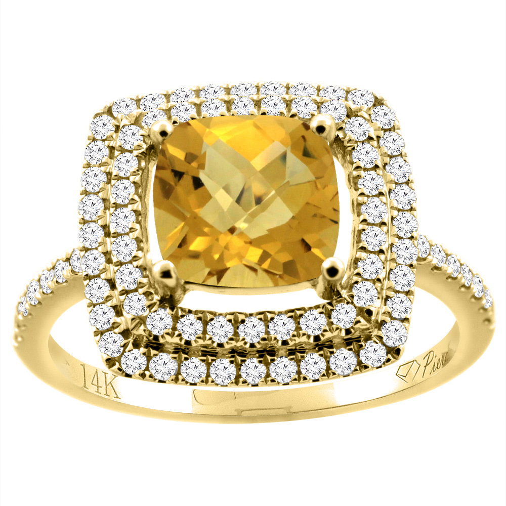 14K Gold Natural Whisky Quartz Ring Cushion Cut 7x7 mm Double Halo Diamond Accents, sizes 5 - 10