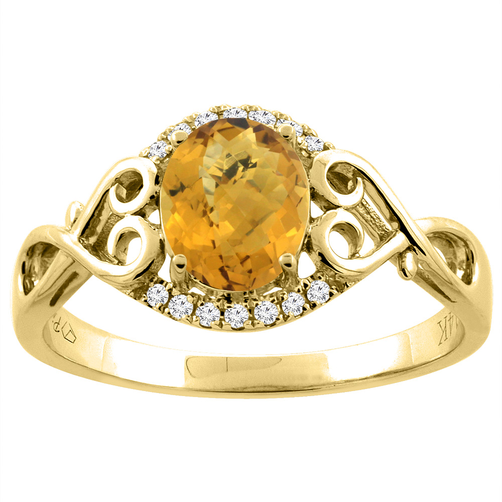 14K Gold Natural Whisky Quartz Ring Oval 8x6 mm Diamond & Heart Accents, sizes 5 - 10