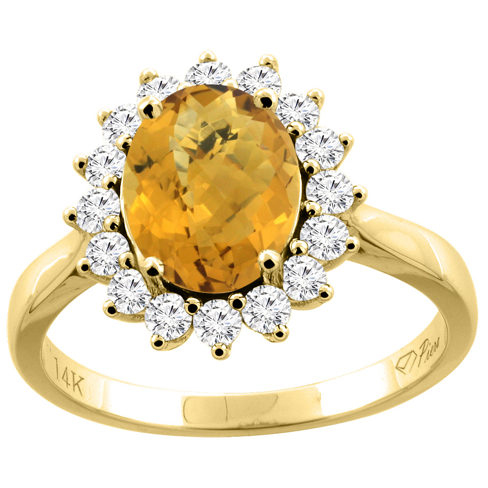 14K Gold Natural Whisky Quartz Ring Oval 9x7 mm Diamond Accents, sizes 5 - 10
