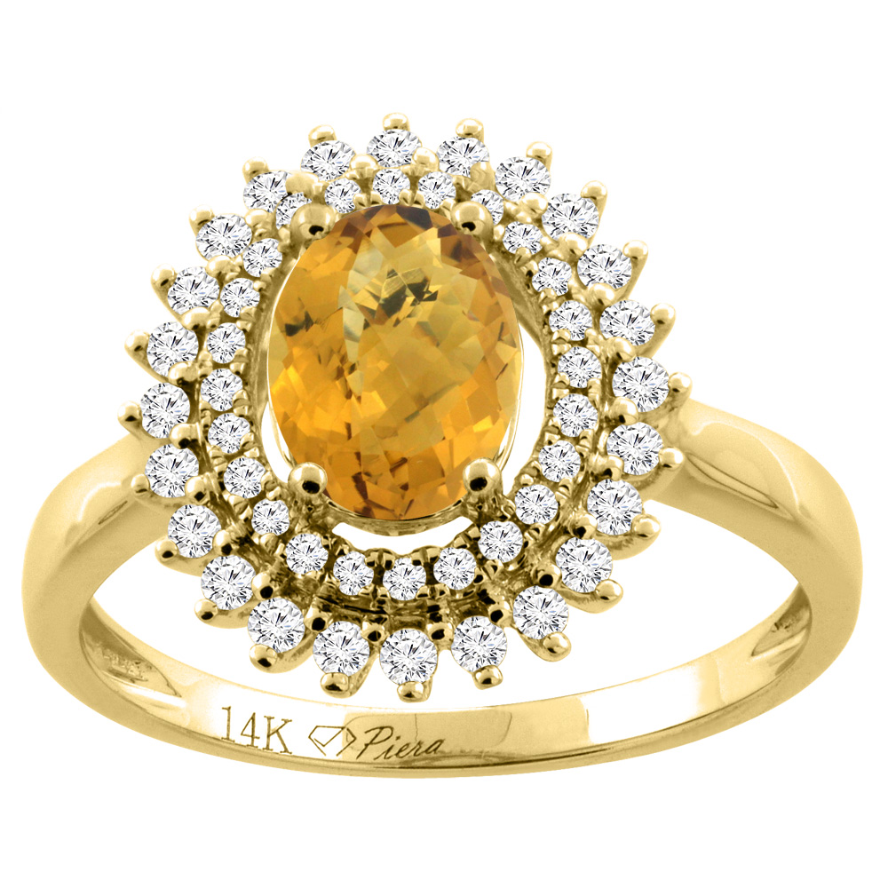14K Gold Natural Whisky Quartz Ring Oval 8x6 mm Double Halo Diamond Accents, sizes 5 - 10