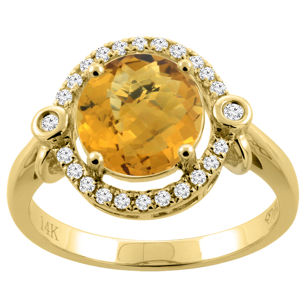 14K Yellow Gold Diamond Natural Whisky Quartz Engagement Ring Oval 10x8mm, sizes 5-10