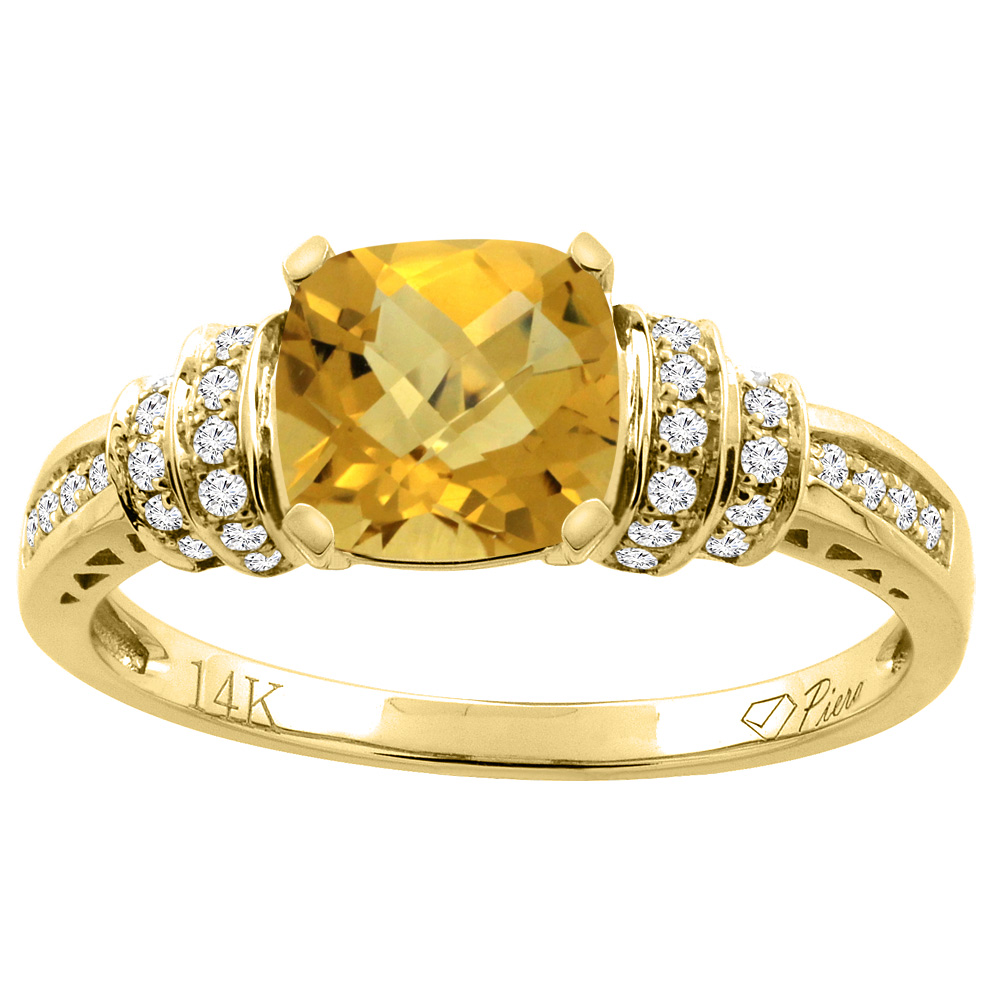 14K Gold Natural Whisky Quartz Ring Cushion Cut 7x7 mm Diamond Accents, sizes 5 - 10