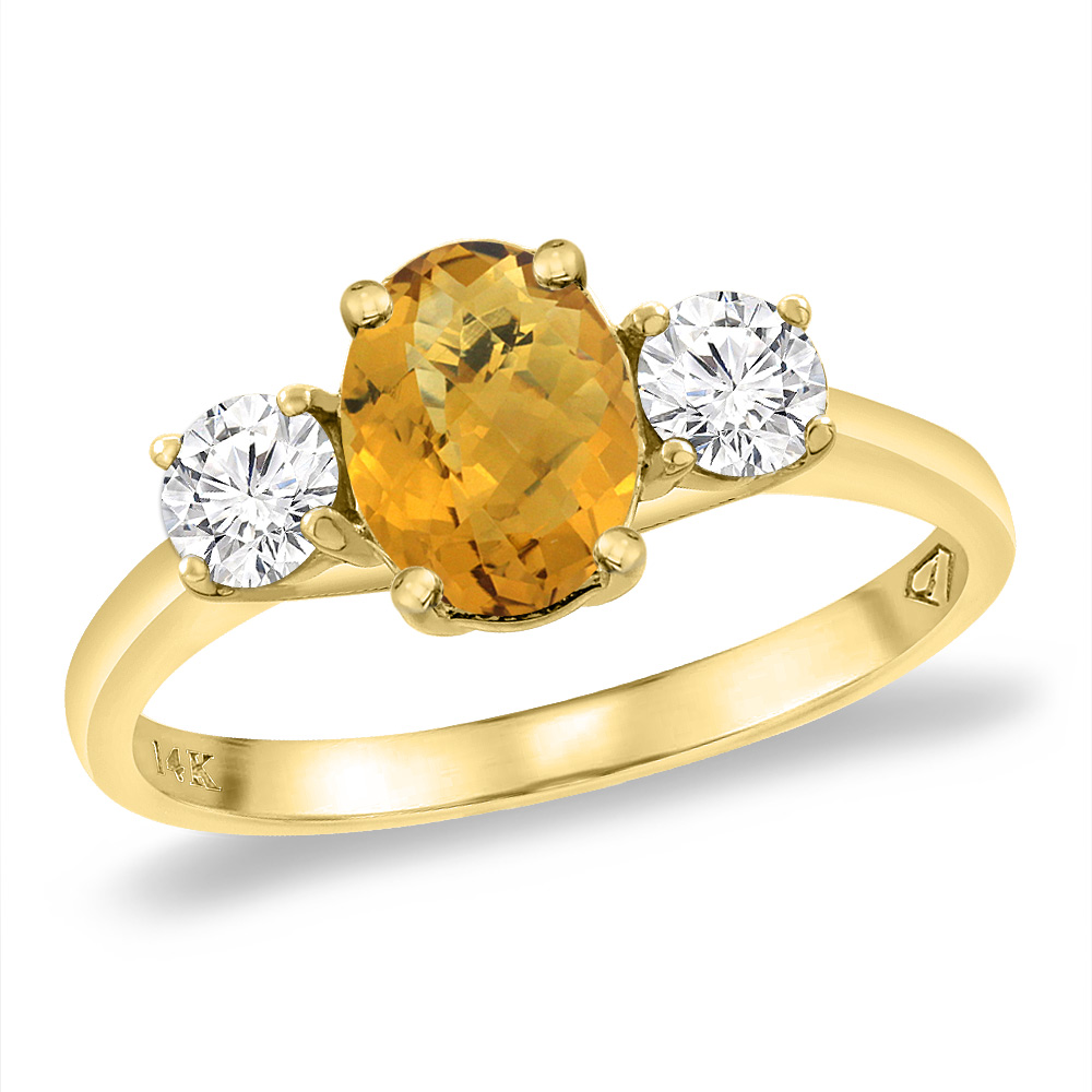 14K Yellow Gold Natural Whisky Quartz & 2pc. Diamond Engagement Ring Oval 8x6 mm, sizes 5 -10