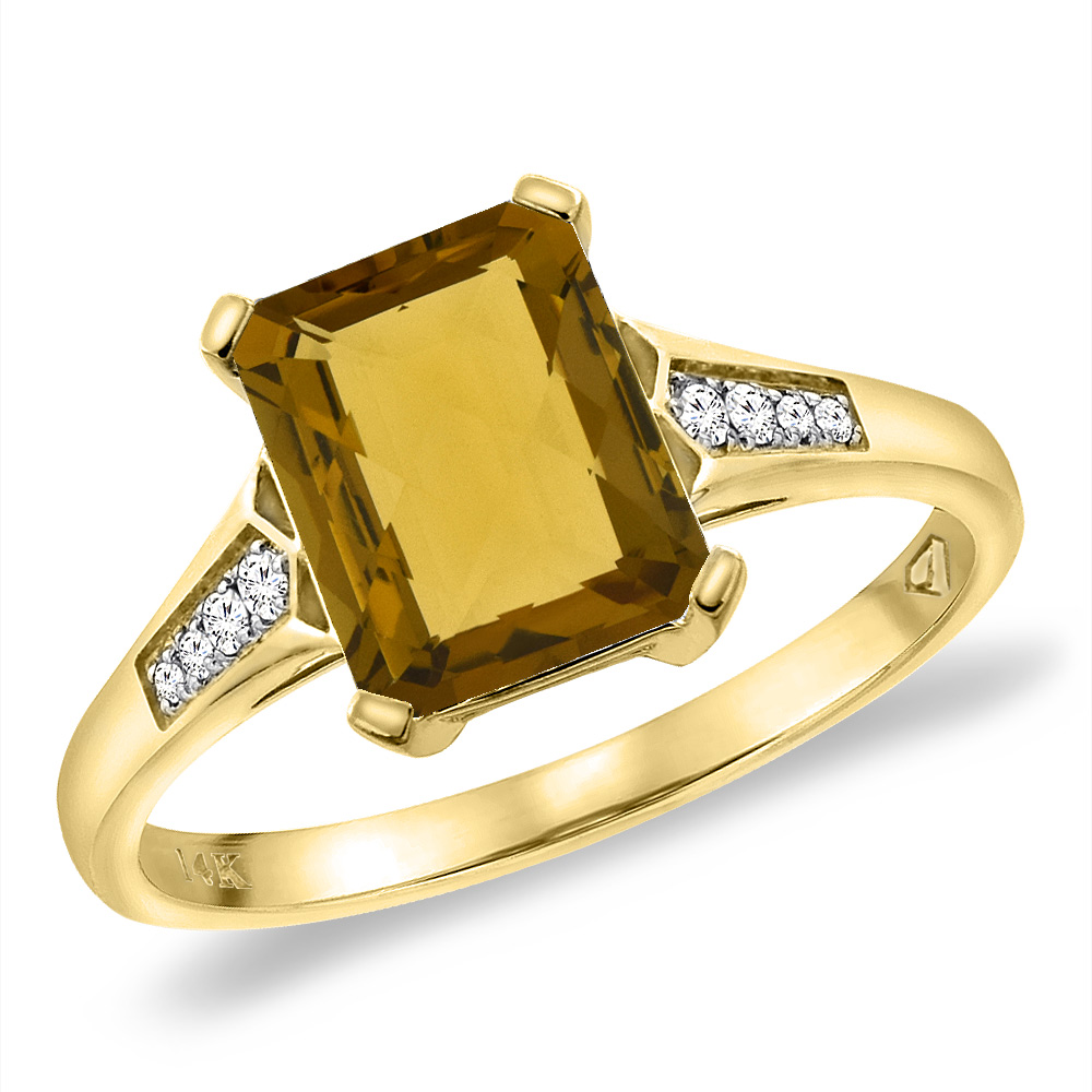 14K Yellow Gold Natural Whisky Quartz Ring 9x7 mm Octagon with Diamond Accent, sizes 5 -10
