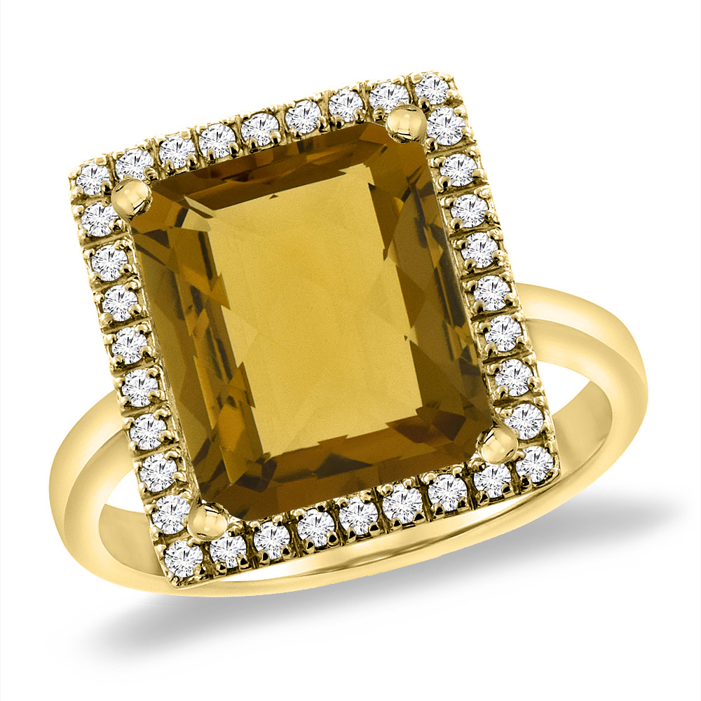14K Yellow Gold Natural Whisky Quartz Ring Diamond Accent 12x10 mm Octagon, sizes 5 -10