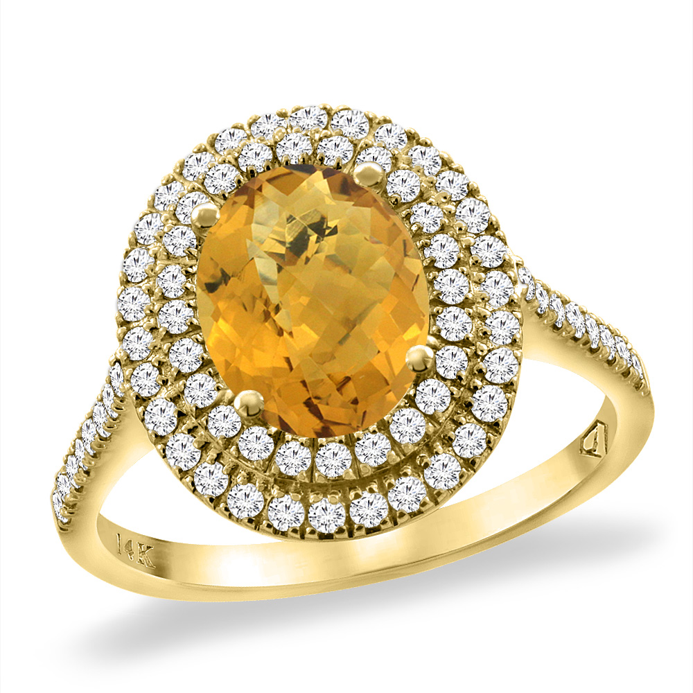 14K Yellow Gold Natural Whisky Quartz Two Halo Diamond Engagement Ring 9x7 mm Oval, sizes 5 -10