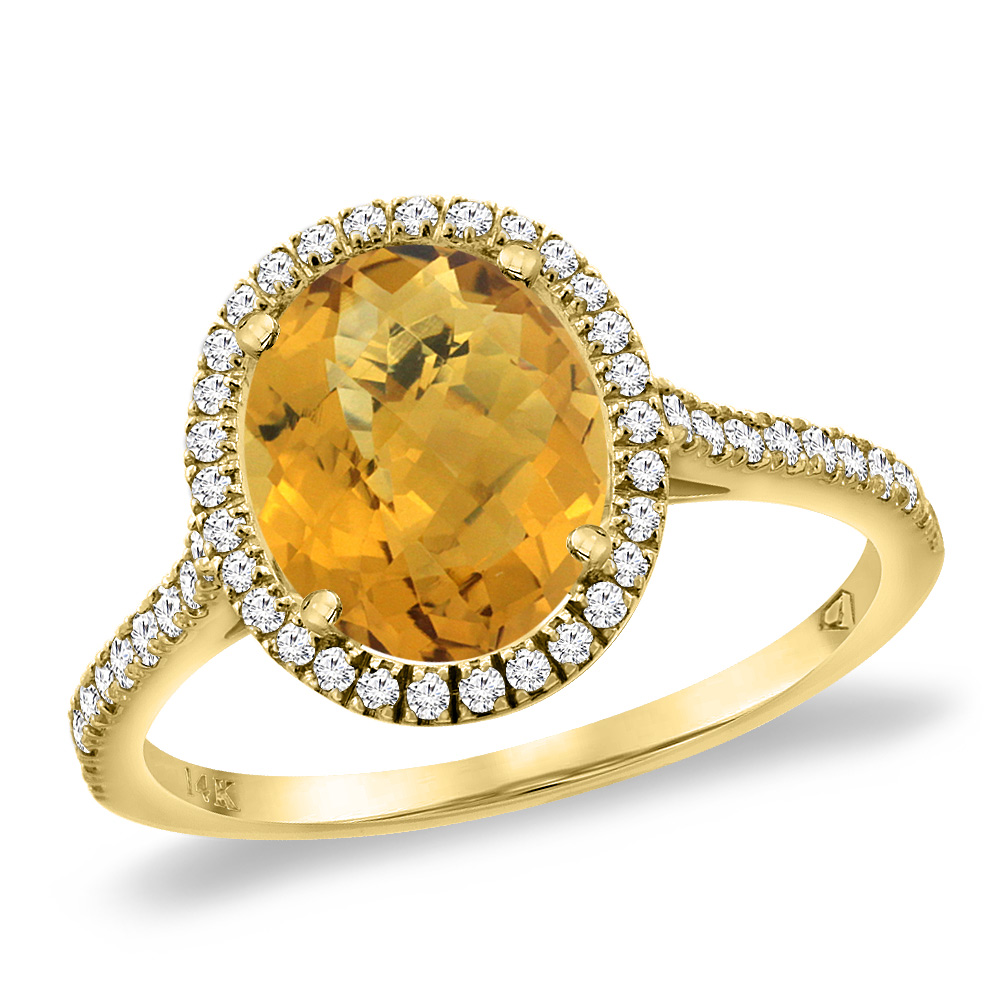 14K Yellow Gold Natural Whisky Quartz Diamond Halo Engagement Ring 10x8 mm Oval, sizes 5 -10