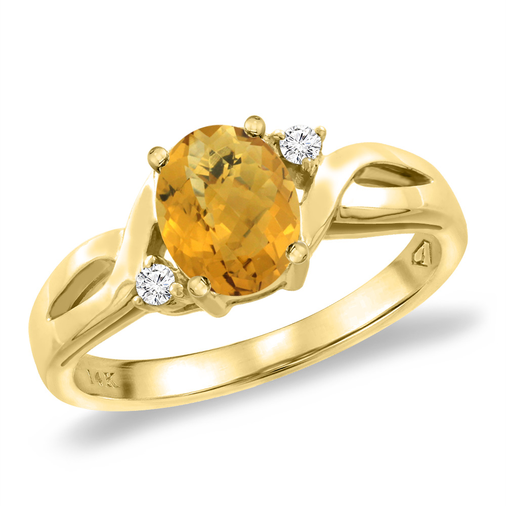 14K Yellow Gold Diamond Natural Whisky Quartz Engagement Ring Oval 8x6 mm, sizes 5 -10