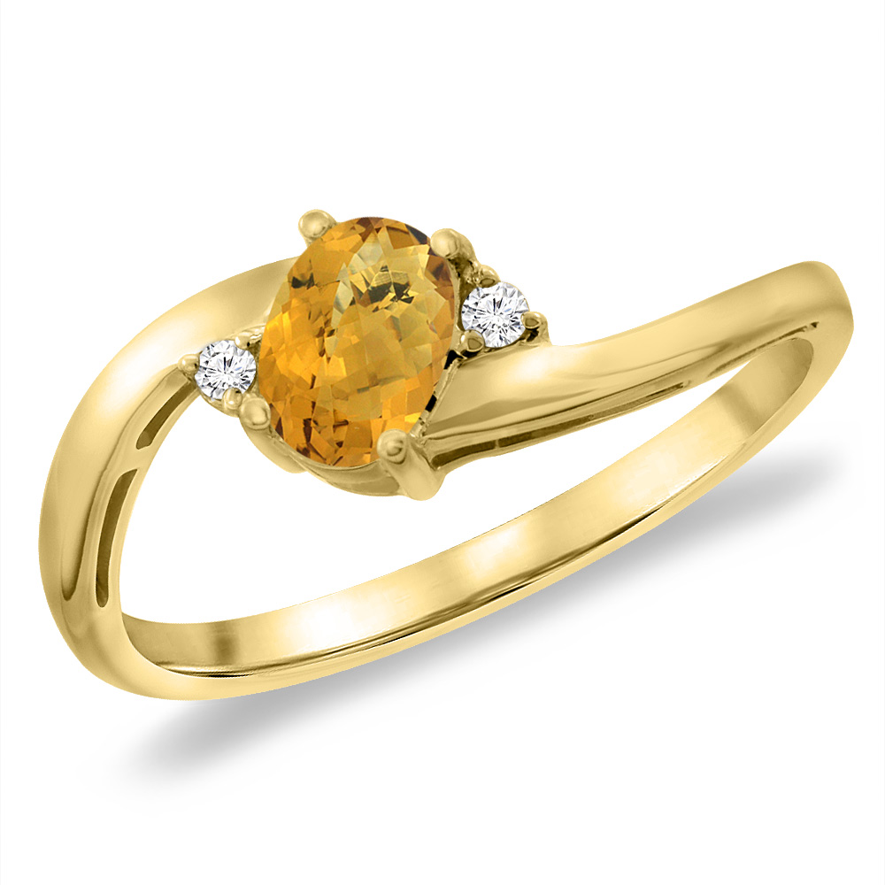 14K Yellow Gold Diamond Natural Whisky Quartz Bypass Engagement Ring Oval 6x4 mm, sizes 5 -10