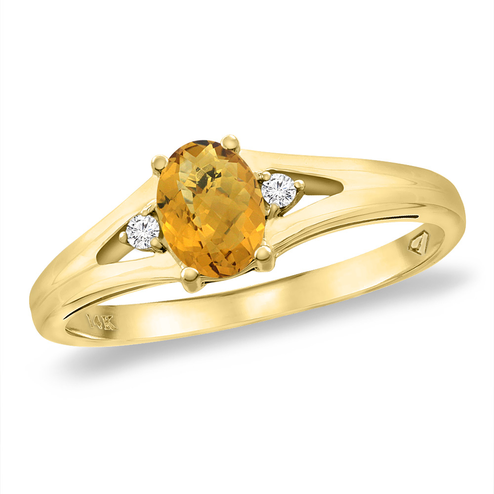 14K Yellow Gold Diamond Natural Whisky Quartz Engagement Ring Oval 6x4 mm, sizes 5 -10