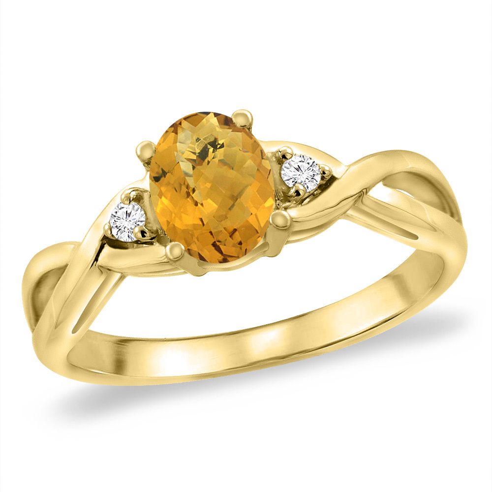 14K Yellow Gold Diamond Natural Whisky Quartz Infinity Engagement Ring Oval 7x5 mm, sizes 5 -10