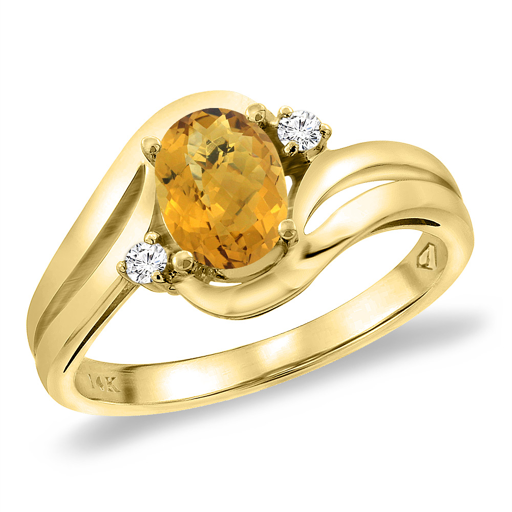 14K Yellow Gold Diamond Natural Whisky Quartz Bypass Engagement Ring Oval 8x6 mm, sizes 5 -10