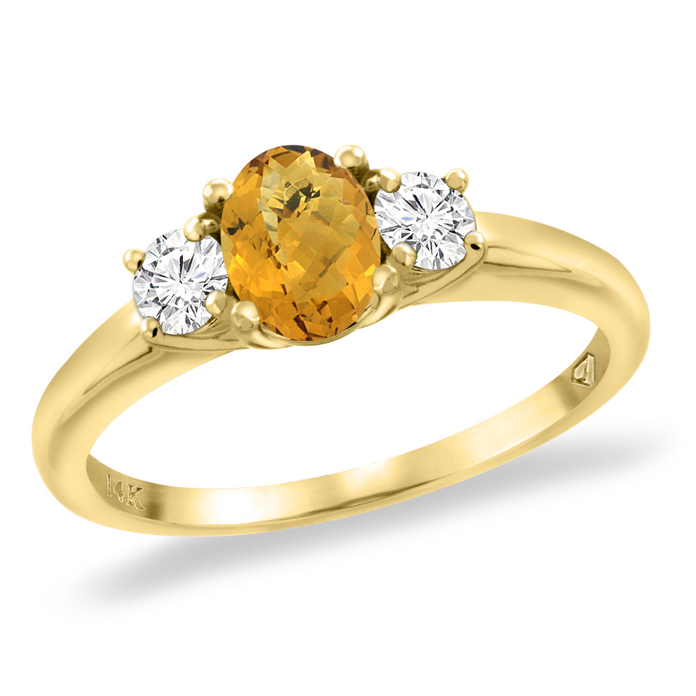 14K Yellow Gold Natural Whisky Quartz Engagement Ring Diamond Accents Oval 7x5 mm, sizes 5 -10