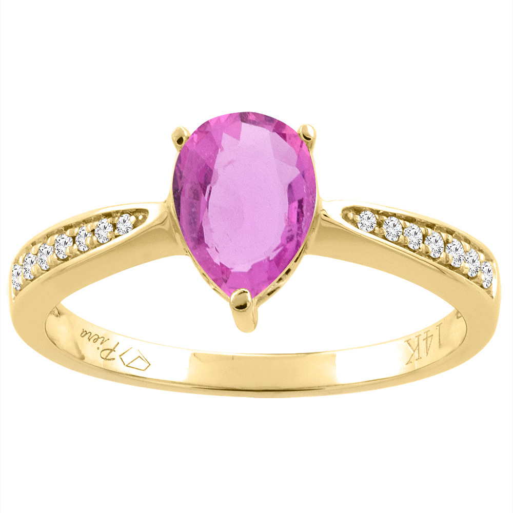 14K Gold Natural Pink Sapphire Ring Pear Shape 8x6 mm Diamond Accents, sizes 5 - 10