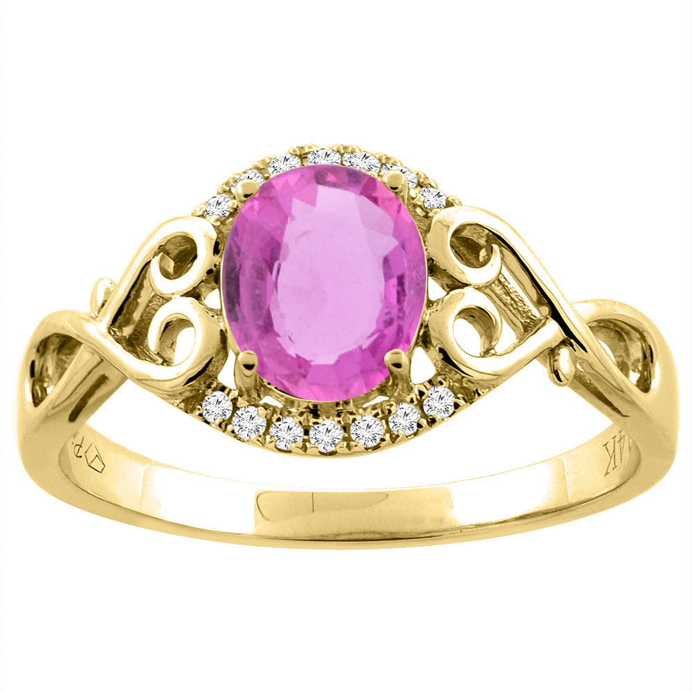 14K Gold Natural Pink Sapphire Ring Oval 8x6 mm Diamond & Heart Accents, sizes 5 - 10