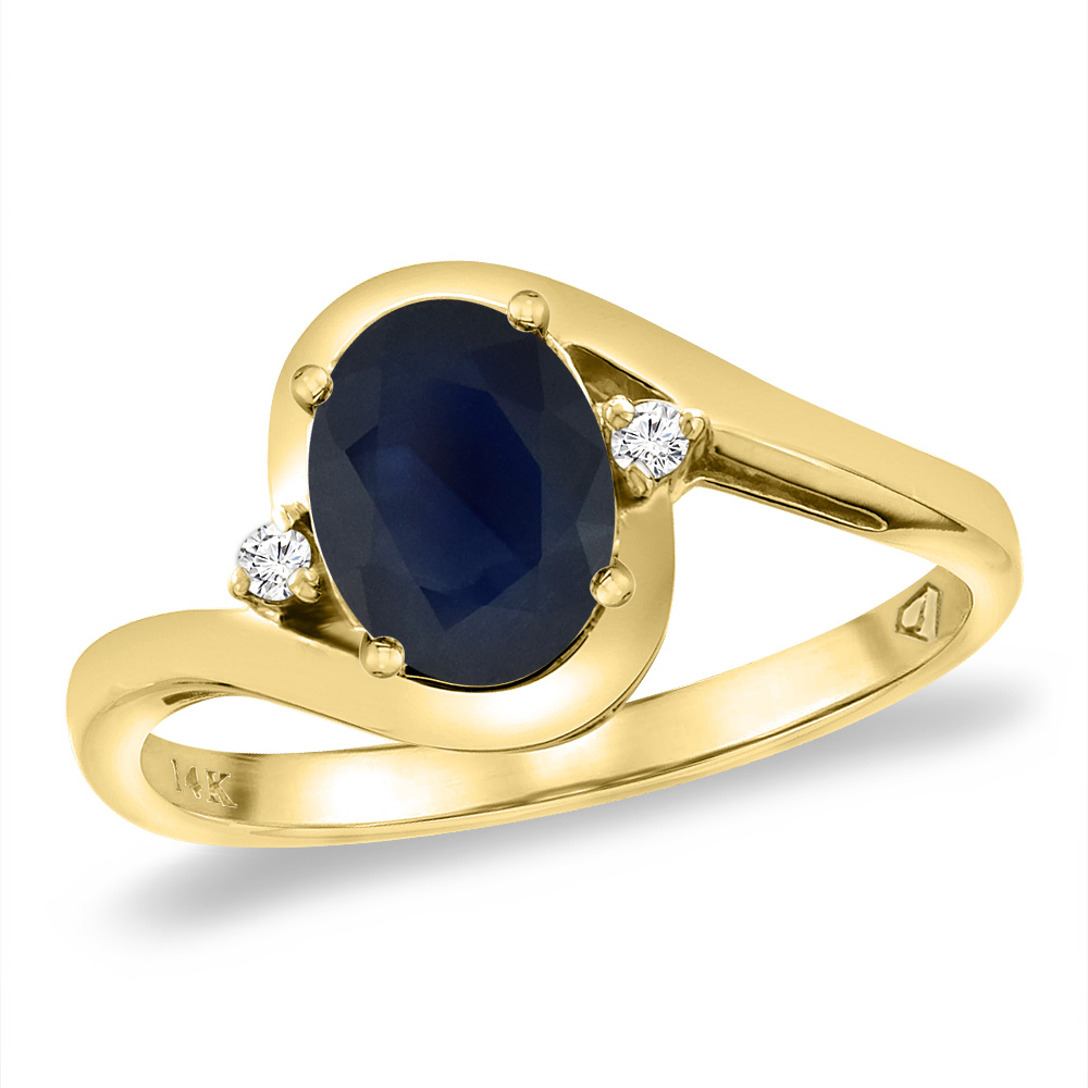 14K Yellow Gold Diamond Natural Australian Sapphire Bypass Engagement Ring Oval 8x6 mm, sizes 5 -10