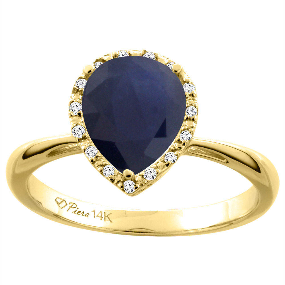 14K Yellow Gold Natural Diffused Ceylon Sapphire & Diamond Halo Engagement Ring Pear Shape 9x7 mm, sizes 5-10