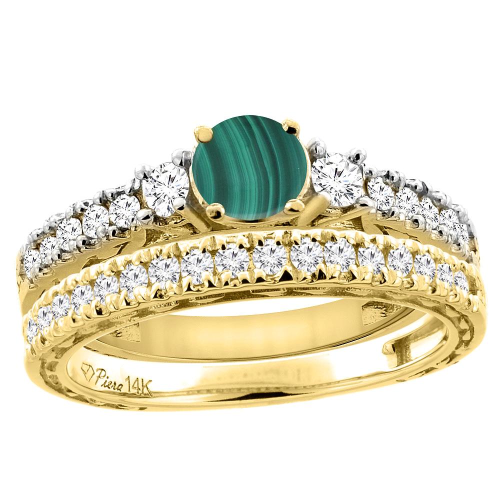 14K Yellow Gold Diamond Natural Malachite Engagement 2-pc Ring Set Engraved Round 6 mm, sizes 5 - 10