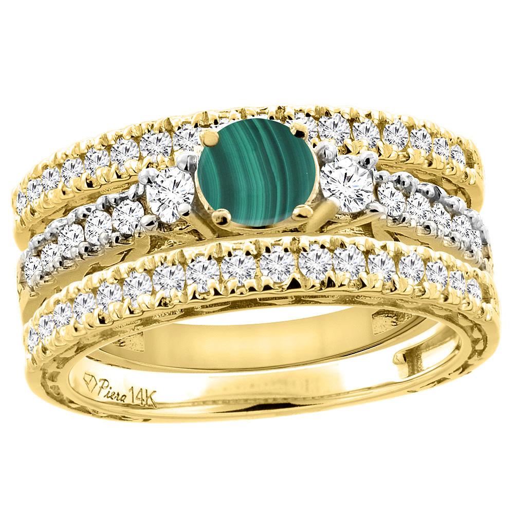 14K Yellow Gold Diamond Natural Malachite Engagement 3-pc Ring Set Engraved Round 6 mm, sizes 5 - 10