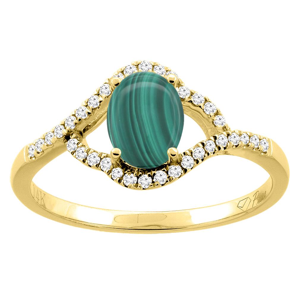 14K Gold Diamond Natural Malachite Engagement Ring Oval 7x5 mm, sizes 5 - 10