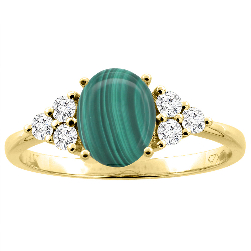 14K Gold Natural Malachite Ring Oval 8x6 mm Diamond Accents, sizes 5 - 10