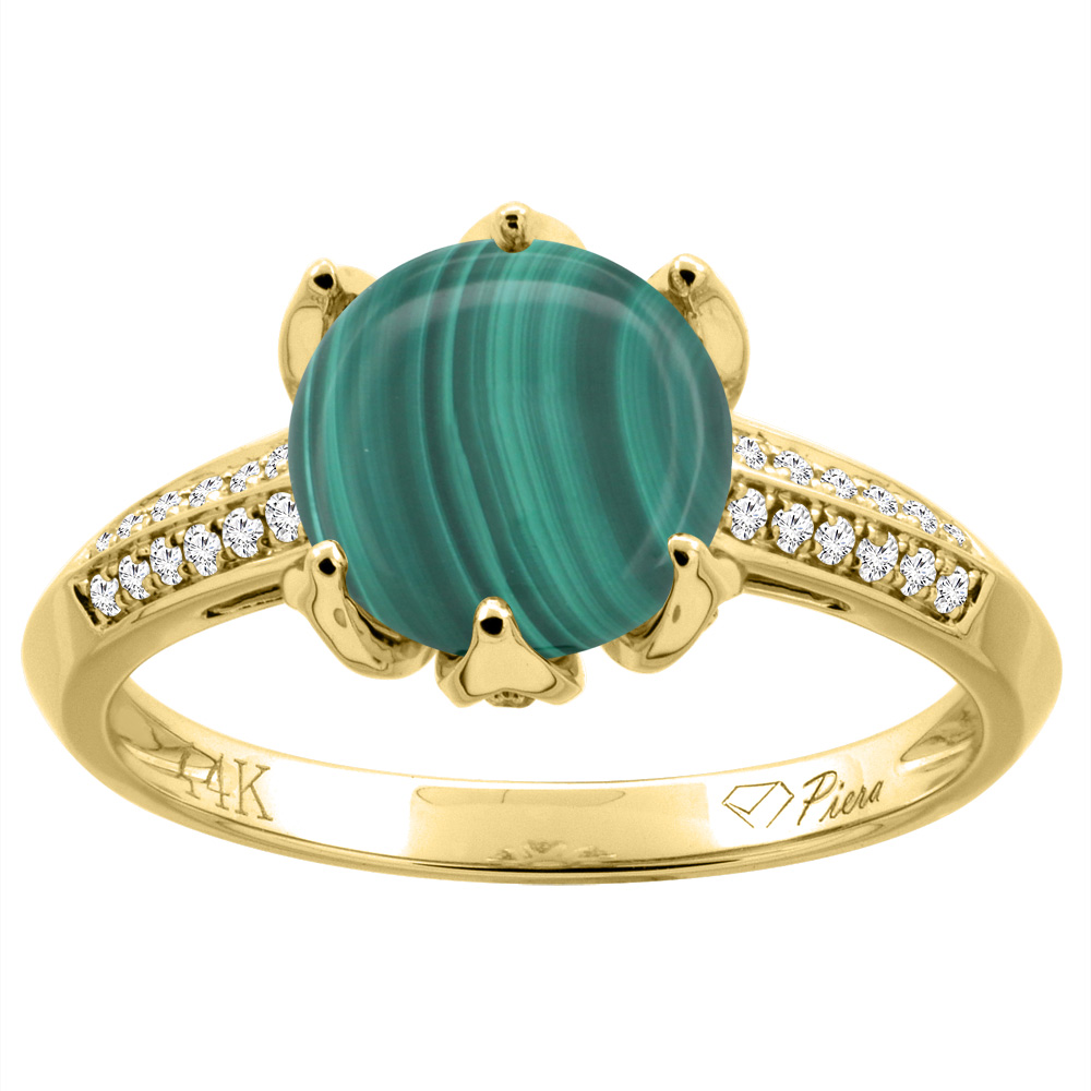 14K Gold Natural Lapis Ring Round 8 mm Diamond Accents, sizes 5 - 10