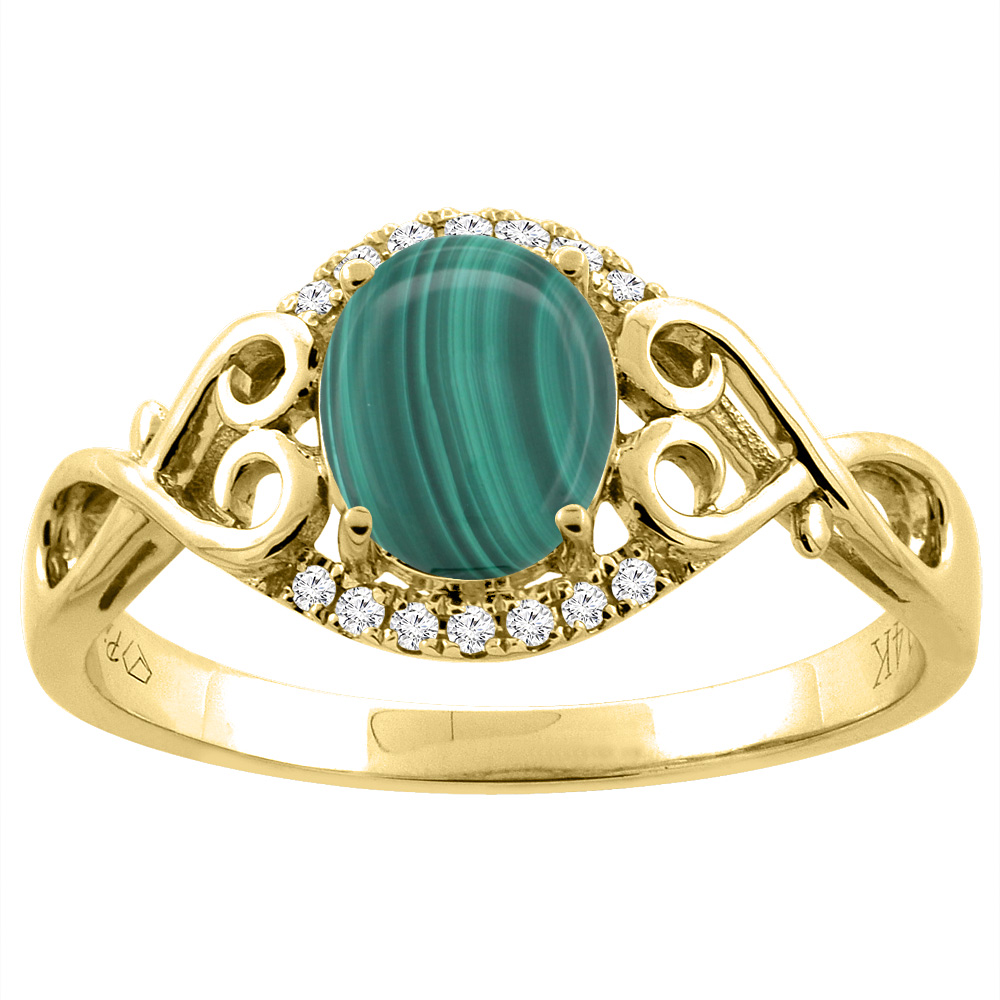 14K Gold Natural Malachite Ring Oval 8x6 mm Diamond & Heart Accents, sizes 5 - 10
