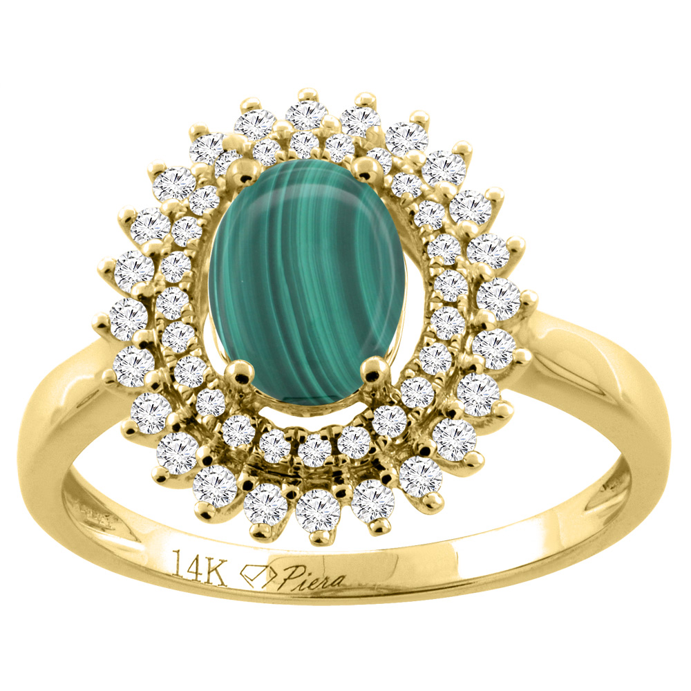 14K Gold Natural Malachite Ring Oval 8x6 mm Double Halo Diamond Accents, sizes 5 - 10