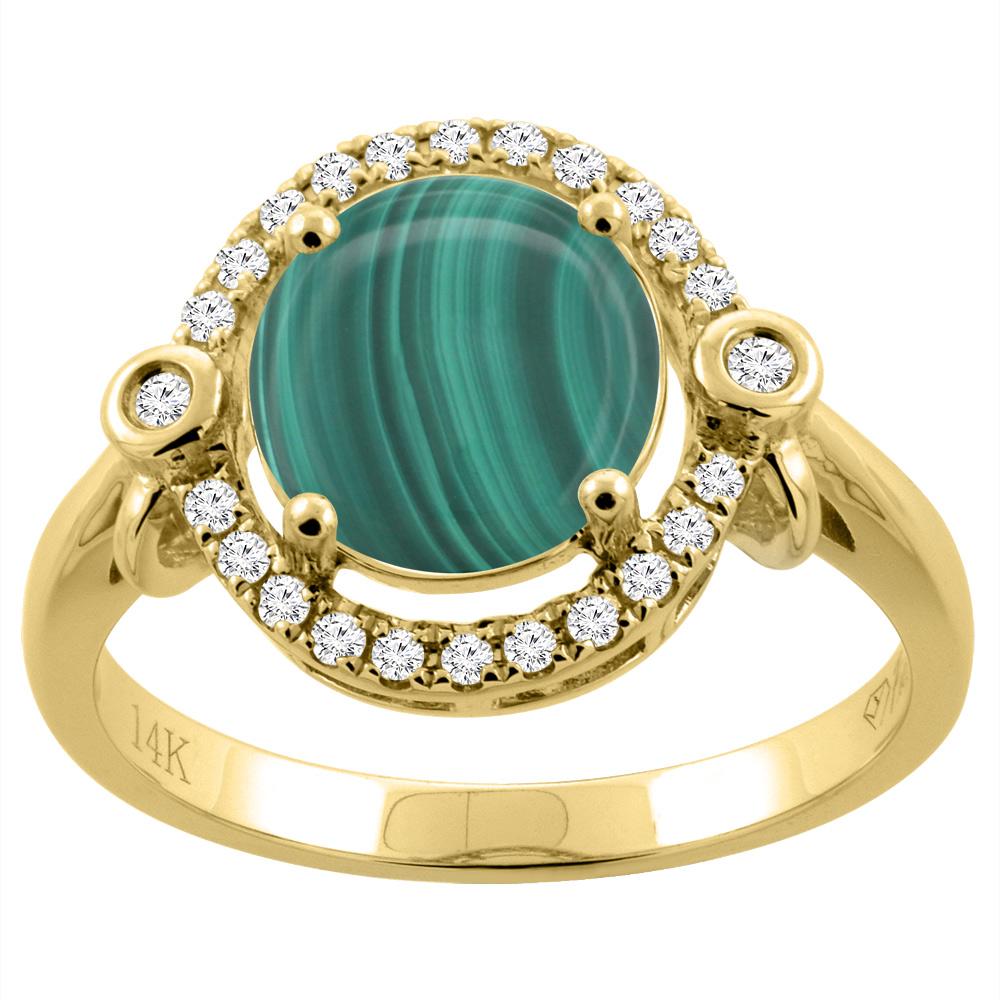 14K Yellow Gold Diamond Natural Malachite Engagement Ring Oval 10x8mm, sizes 5-10