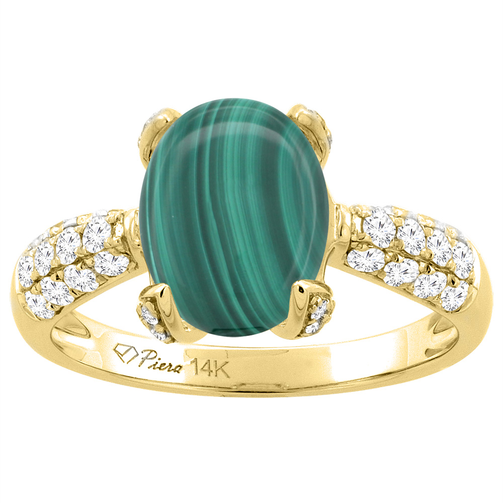 14K Yellow Gold Natural Malachite Engagement Ring Oval 12x10 mm & Diamond Accents, sizes 5 - 10