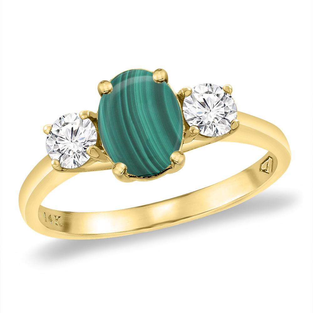 14K Yellow Gold Natural Malachite & 2pc. Diamond Engagement Ring Oval 8x6 mm, sizes 5 -10