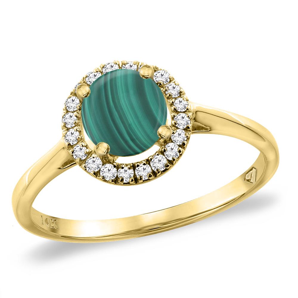 14K Yellow Gold Diamond Halo Natural Malachite Engagement Ring Round 6 mm, sizes 5 -10