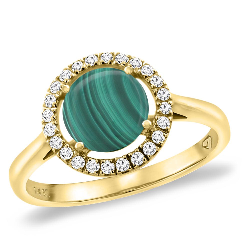 14K Yellow Gold Natural Malachite Halo Engagement Ring Round 8 mm, sizes 5 -10