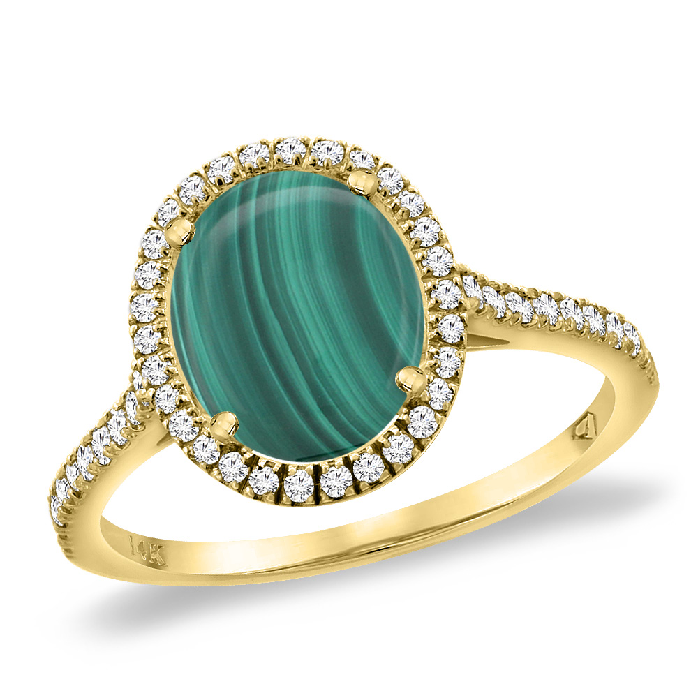 14K Yellow Gold Natural Malachite Diamond Halo Engagement Ring 10x8 mm Oval, sizes 5 -10