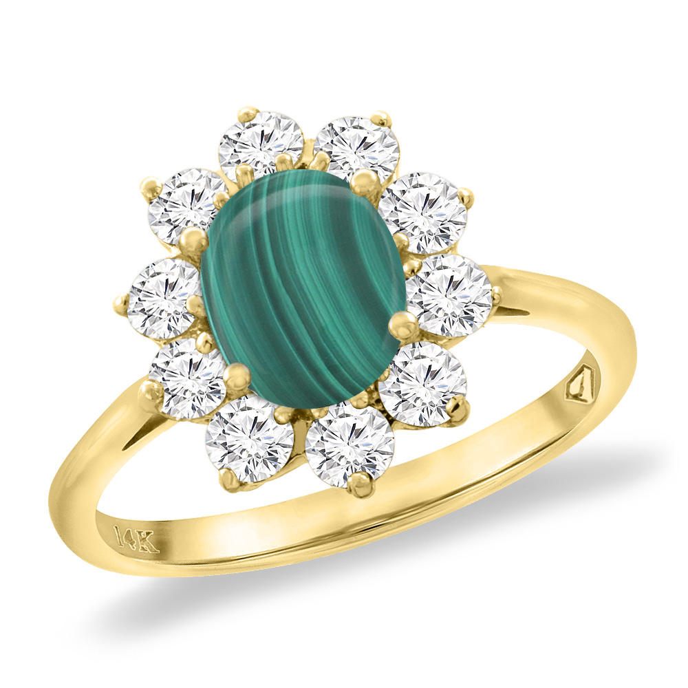 14K Yellow Gold Diamond Natural Malachite Engagement Ring Oval 8x6 mm, sizes 5 -10