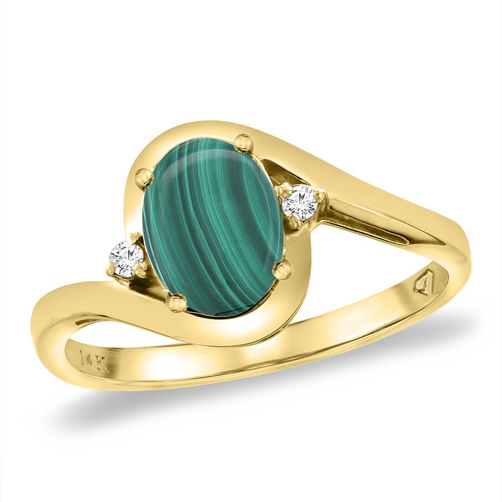14K Yellow Gold Diamond Natural Malachite Bypass Engagement Ring Oval 8x6 mm, sizes 5 -10