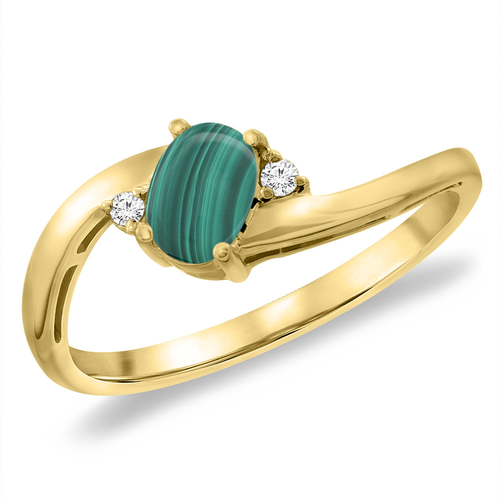 14K Yellow Gold Diamond Natural Malachite Bypass Engagement Ring Oval 6x4 mm, sizes 5 -10