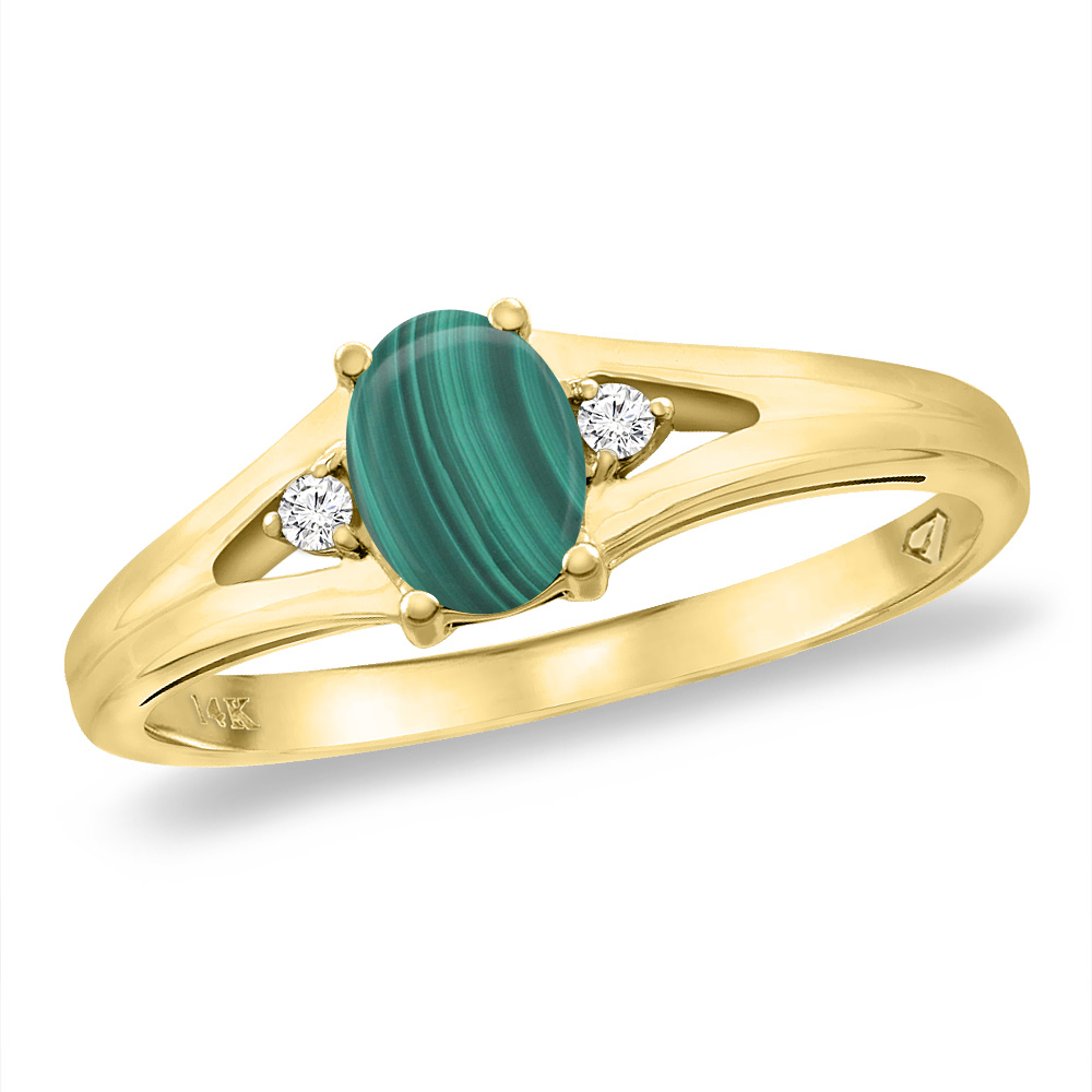 14K Yellow Gold Diamond Natural Malachite Engagement Ring Oval 6x4 mm, sizes 5 -10