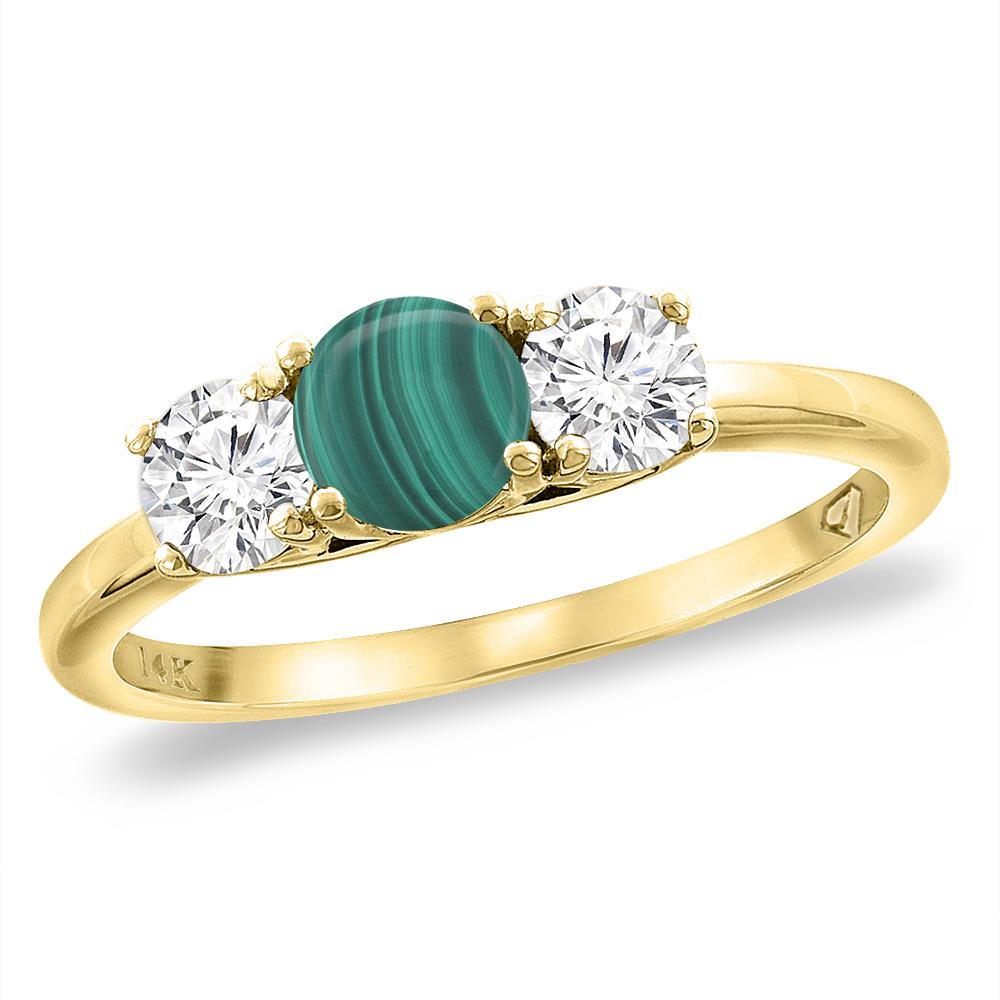 14K Yellow Gold Diamond Natural Malachite Engagement Ring 5mm Round, sizes 5 -10