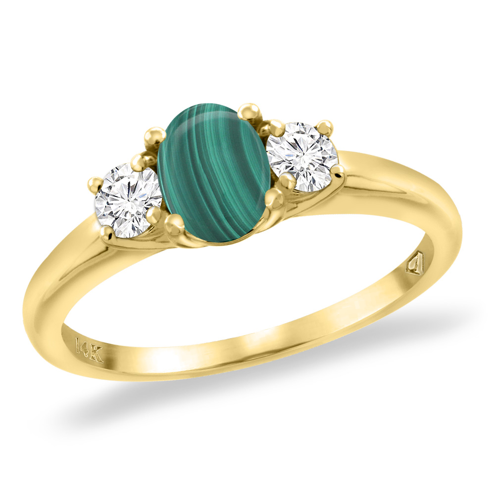 14K Yellow Gold Natural Malachite Engagement Ring Diamond Accents Oval 7x5 mm, sizes 5 -10