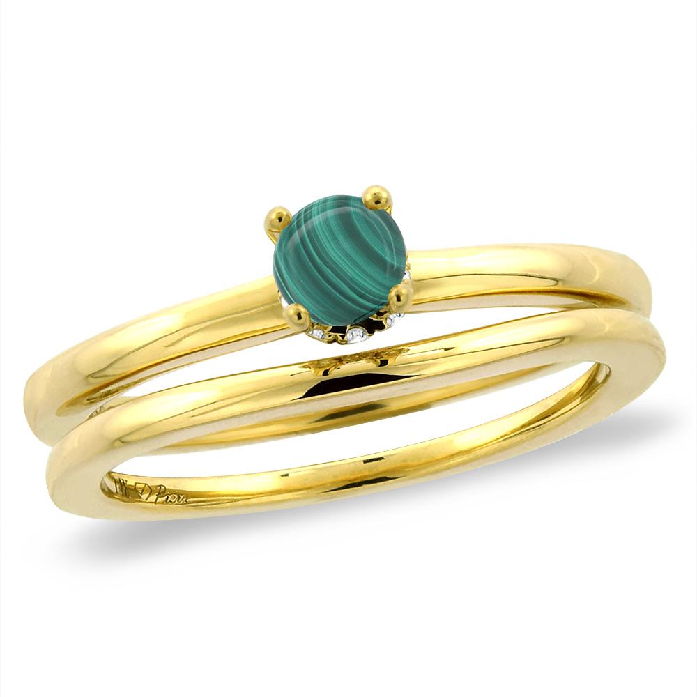 14K Yellow Gold Diamond Natural Malachite 2pc Solitaire Engagement Ring Set Round 6 mm, sizes 5-10