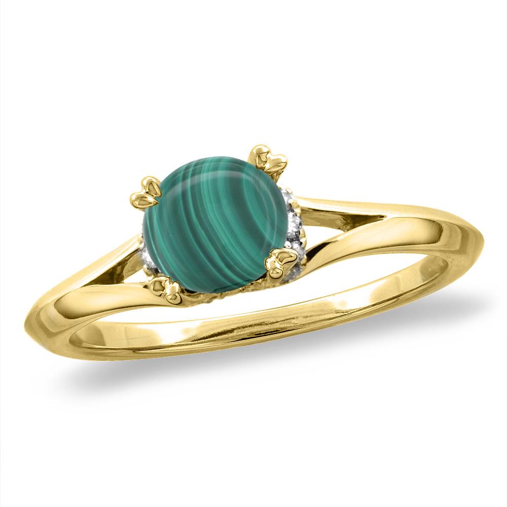 14K White/Yellow Gold Diamond Natural Malachite Solitaire Engagement Ring Round 6 mm, sizes 5-10